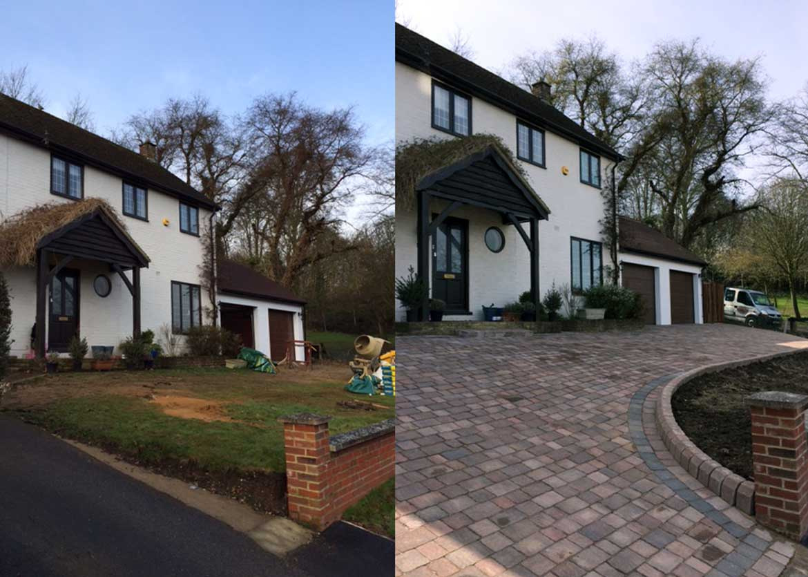 Woodley Paving driveway before and after